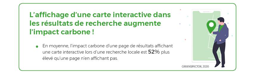 En moyenne, l'impact carbone d'une page de résultats affichant une carte interactive lors d'une recherche locale est 52% plus élevé qu'une page n'en affichant pas.