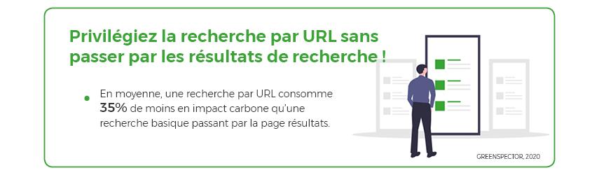 Privilégiez la recherche par URL sans passer par les résultats de recherche ! En moyenne, une recherche par URL consomme 35% de moins en impact carbone qu'une recherche basique passant par la page résultats