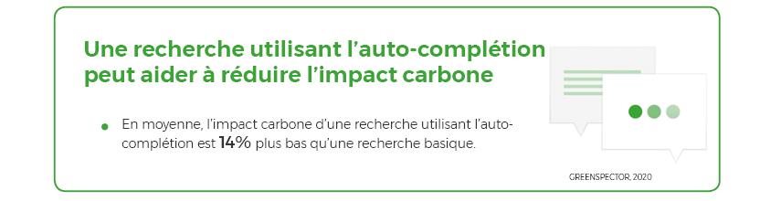 Une recherche utilisant l'auto-complétion peut aider à réduire l'impact carbone