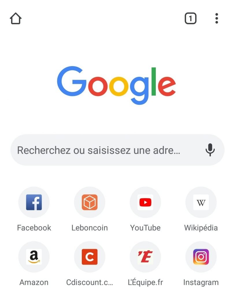 Capture d'écran de l'application Chrome