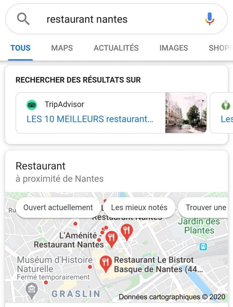 Capture d'écran du scénario de recherche locale