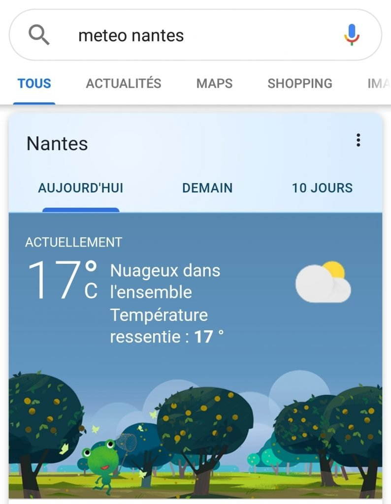 Capture d'écran du scénario de recherche ciblée météo