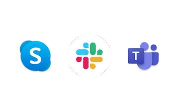 Miniature logo Skype Slack et Teams